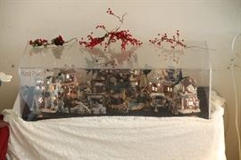 Hand painted city of Bethlehem with Nativity Scene - a real work of art in its own plexiglass container