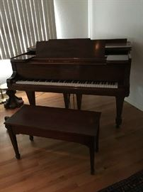 Baby Grand Piano by Sherman & Clay, with matching bench. Vintage, good condition. For sale NOW !