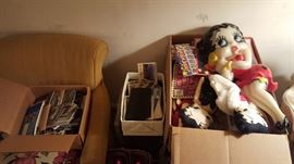 Betty Boop Collectibles & Box Load of old post cards
