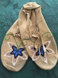 Vintage Leather Beaded Native American Moccasins