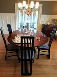 Dining room table with custom made tablecloth
