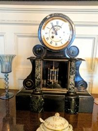 Cartier Mantle Clock with Matching Tazzles