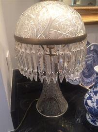 Elaborate domed luster lamp