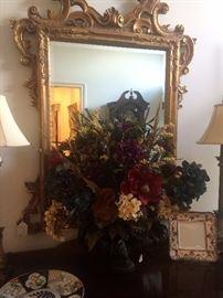 Gold ornate mirror; lovely arrangement