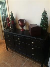 Black 9-drawer chest and home decor