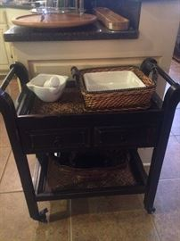 Black 2-shelf tea cart