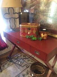 Great campaign table; horseshoe style lamp; rooster box and planter