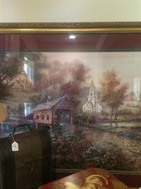Framed art with covered bridge & church