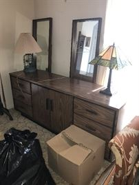VINTAGE LONG DRESSER WITH DOUBLE MIRRORS
