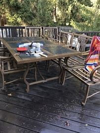 PATIO FURNITURE-LONG TABLE 6 CHAIRS AND UMBRELLA