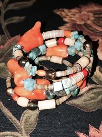CORAL, TURQUOISE AND NATURAL STONE BANGLE BRACELET