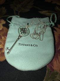 TIFFANY & CO. STERLING SILVER AND ENAMEL KEY WITH BALL NECKLACE