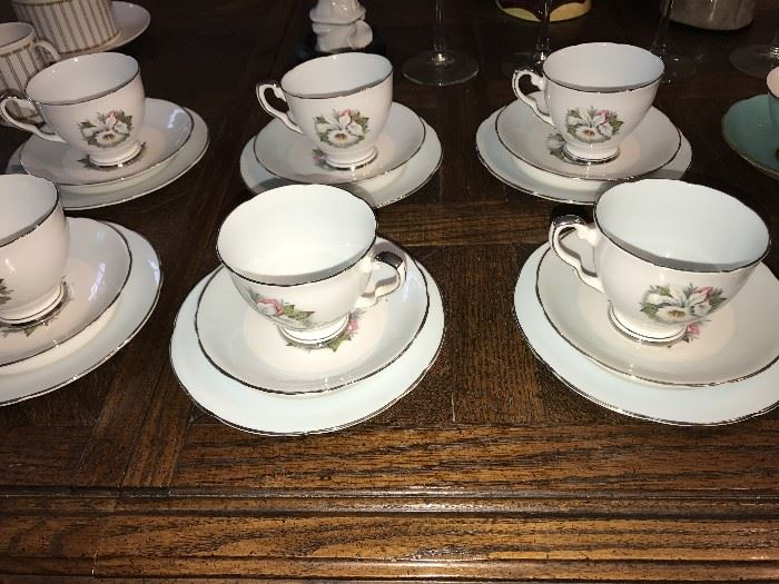 ROYAL STAFFORD WHITE LADY ORCHID TEACUPS-SET OF 6