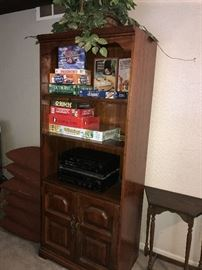 WOODEN BOOKSHELF AND BOARD GAMES