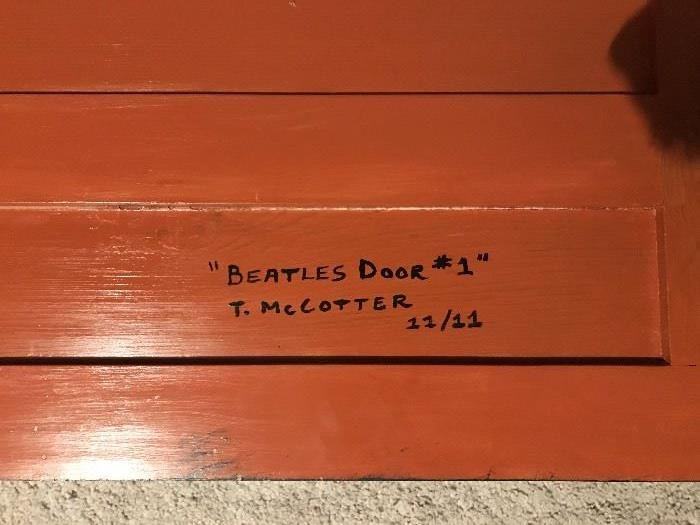 ORIGINAL ART-PAINTED BEATLES DOOR BY T. McCOTTER