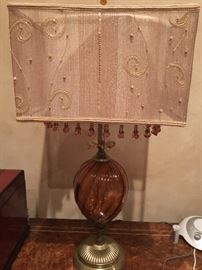 """20/ One of two of the """"Taylor"""" Kinzig Lamps, Amber glass center."""
