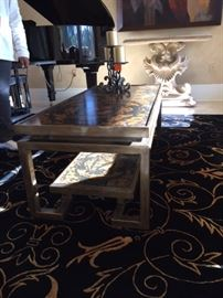Tortoise shell style coffee table brass mounting