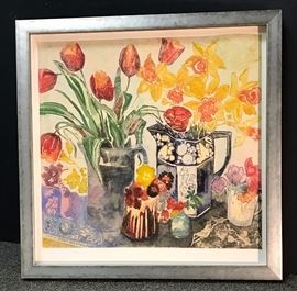 Jenny Devereux, Tulips and Daffodils, color etching 19 x 19 in. ed. of 150. Framed 25 x 25 in. Gallery Price $1,295.00, Estate Sale Price $595.00