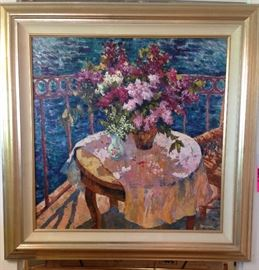 Russian School, Lilacs, 36 x 36 oil on canvas, 48 x 48 in. framed, Gallery Price $8,900.00, Estate Sale Price $2,995.00