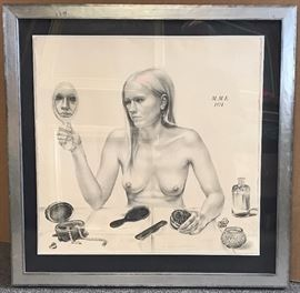 """Vanitas"", Self Portrait by Martha Earlbacher, 1974, Lithograph ed. 5/25 prints. Dims. 22 x 22 in., framed 29 x 29 in. Gallery price $1149.00, Estate Sale Price $395."