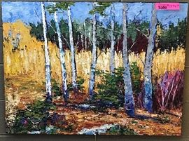 Centeno, Birches, oil on canvas, 30 x 40 in., Gallery Price $2900.00; Estate Sale Price $1495.00