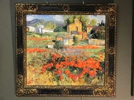 "Fraile, ""Pueblo Burges, Spain"", oil on canvas, 30 x 30 in. Gallery Price $6900.00; Estate Sale Price $3600.00"
