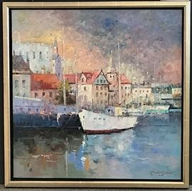 "Morgan, ""Harbor"", oil on canvas, 30 x 30 in. Gallery Price $2400.00.  Estate Sale Price $949.00"