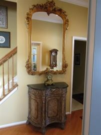 STUNNING BAROQUE STYLE MIRROR - MARBLE TOP CONSOLE TABLE