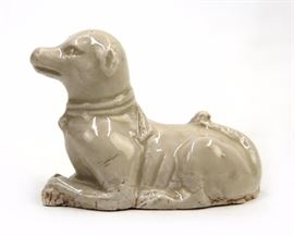 A RARE WHITE GLAZED MODEL OF A DOG,SONG DYNASTY(960-1279)