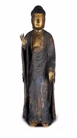 A LARGE CARVED GILT WOOD STANDING BUDDHA,EDO DYNASTY(1603-1867)