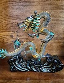 Asian Metal Dragon Sculpture