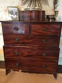 """Antique Mahogany Chest on Chest 3 Drawer Over 2 Drawer (42"""" x 20"""" x 44"""")"""