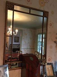 "19th Century Gold Leaf Rectangular Mirror with Flower Corners (31"" x 40)"