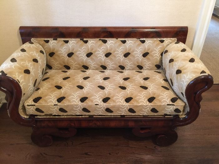 """Mahogany Empire Settee with Swan Decoration Velvet Gros Point Fabric (57"""" x 23"""" x 32"""")"""
