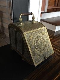 Antique Brass Kindling Box w/Scoop, c.1860
