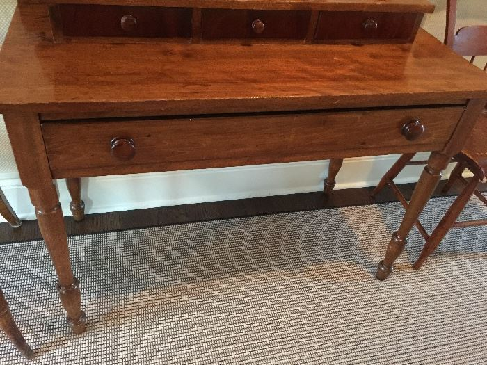 """Tiered Mahogany Desk with Gallery and 3 Drawer Over 1 Drawer, c.1840 (41"""" x 19"""" x 37"""")"""