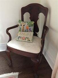 """Antique Mahogany Arm Chair with Ball and Claw Feet , c.1870 (24"""" x 21""""x 39"""")"""