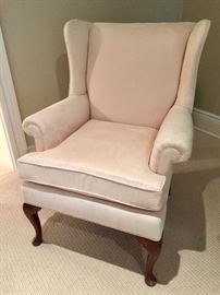 """Cream Ultra Suede Wing Chair (31"""" x 32"""" x 40"""")"""