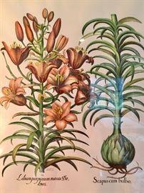 "Pair of Signed Hand Colored Ponte Vecchio Botanical Artwork (32"" x 36"")"