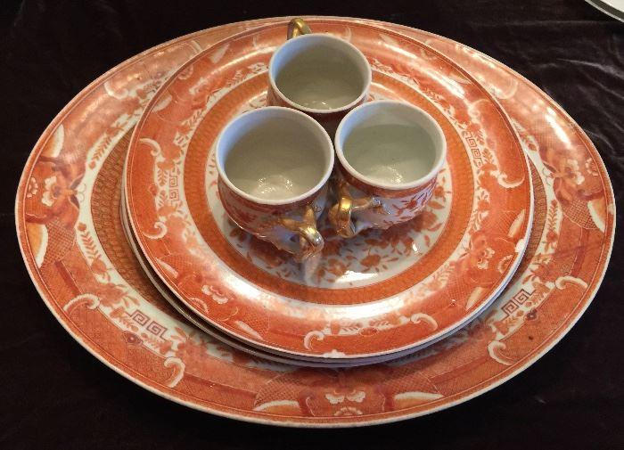 Orange Fitz Hugh Chinese Export Porcelain, 1 Platter, 3 Plates, 3 Cups, c.1820