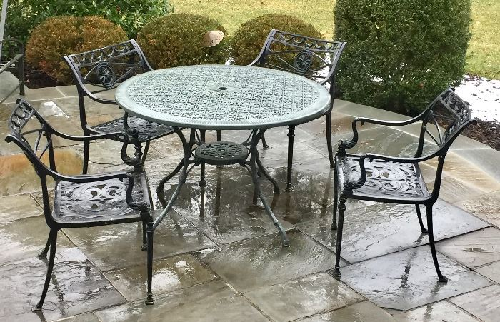 Outdoor Wrought Iron Round Table, 6 Outdoor Wrought Iron Chairs, Outdoor Wrought Iron Love Seat, Outdoor Wrought Iron Coffee, Outdoor Wrought Iron End Table