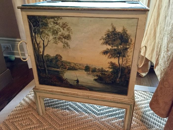 """Cream Hand painted Tin Chest on Wood Base C.1900 (36"""" x 32"""" x 42"""")"""
