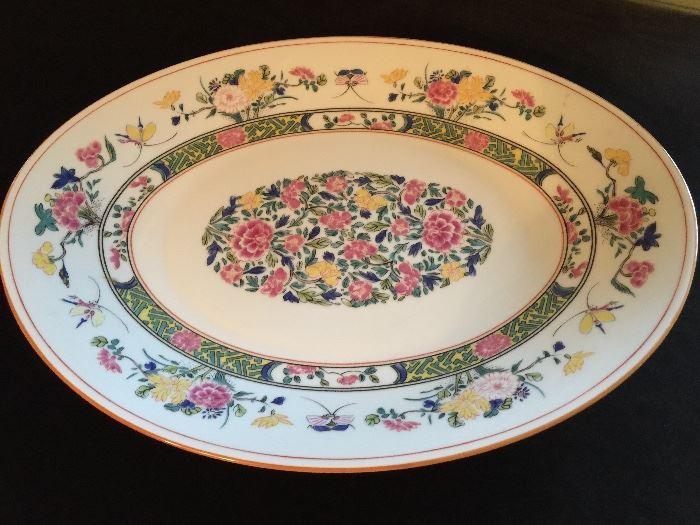 Limoges Puiforcat, 16 Large and 16 Salad Plates, 12 Soup Bowls, 8 Teacups and Saucers, 1 Platter