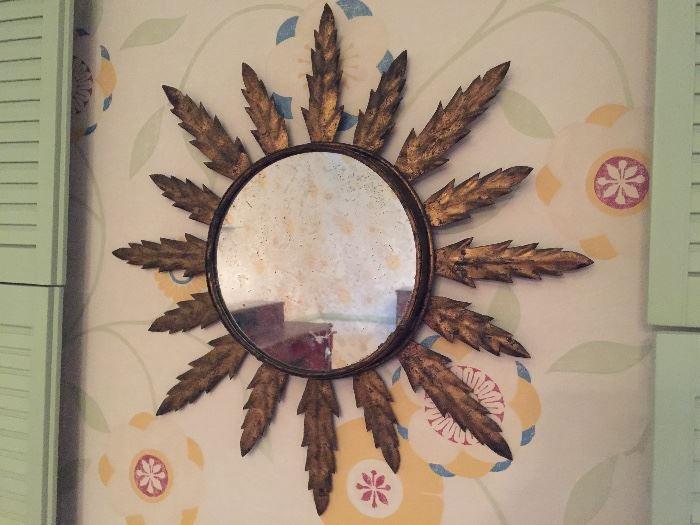 """Antique Gold Leaf Sunflower Mirror, c.1850 (22"""" x 22"""")"""