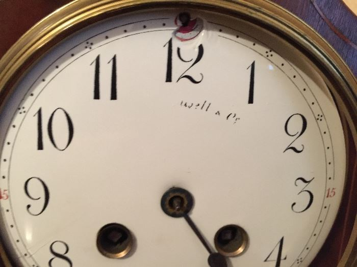 """Mahogany Inlaid Wallace Table Clock, c.1870 (As Is) (7"""" x 5"""" x 11"""")"""