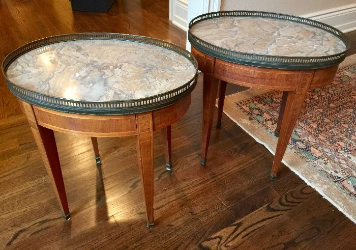 Pair of Mahogany Oval Marble Top End Tables with Brass Galleries