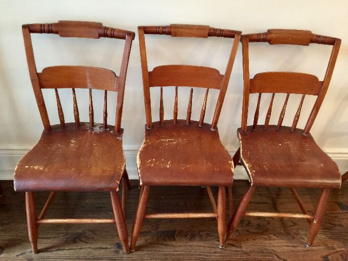 3 Pine Pillowback Side Chairs