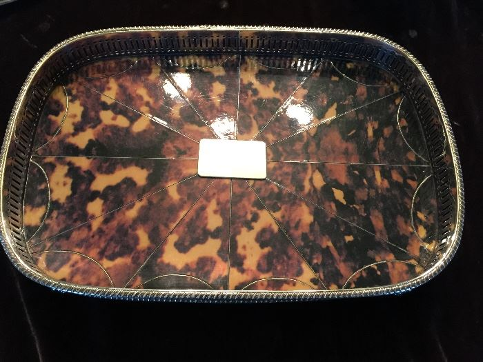 Tortoiseshell and Sterling Silver Tray with Gallery