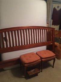 King headboard and foot board; 2 small stools