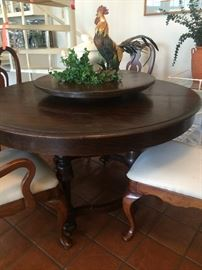Round dining table with built-in Lazy Susan; 4 dining chairs; rooster